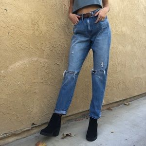 Madewell boyfriend jeans. (Perfect vintage)